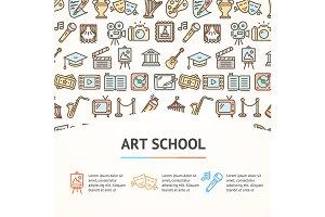 Art School Concept Banner. Vector
