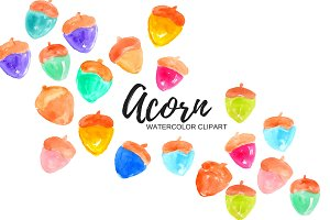 Colorful Watercolor Acorn Clip Art
