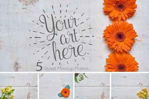 Rustic Flower Photo Set White Wood