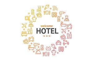 Hotel Round Icon Concept. Vector