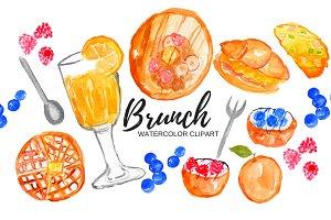 Watercolor Brunch Food Clipart