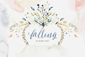 Falling Watercolor Clipart Bundle