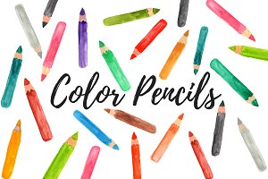 Watercolor color pencil clipart
