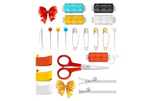 Realistic Sewing Tools Accessories