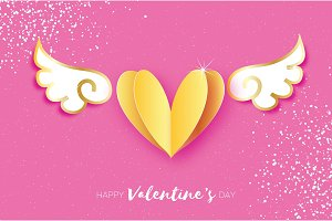 Cute Happy Valentine's Day Greetings card. White Origami angel wings and gold metal heart. Love. Winged heart in paper cut style. Pink background. 14 February.