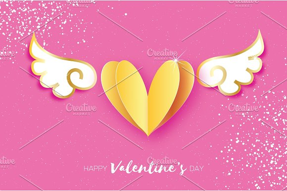 Cute Happy Valentine\'s Day Greetings card. White Origami angel ...