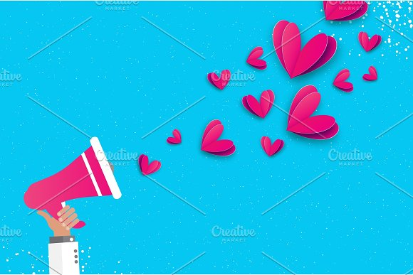 Hand Holding Megaphone With Flying Origami Love Pink Hearts Valentine Concept Space For Text Be My Valentine.14 February Romantic Card On Sky Blue