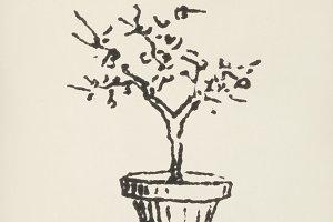 Vintage Plant icon illustration(PSD)