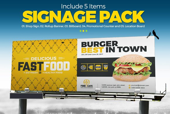 Digital Signage for Fast Food Agency in Stationery Templates
