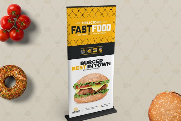 Digital Signage for Fast Food Agency in Stationery Templates - product preview 1