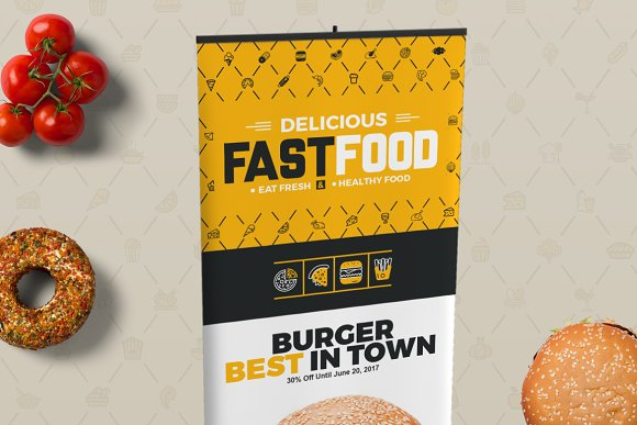 Digital Signage for Fast Food Agency in Stationery Templates - product preview 2