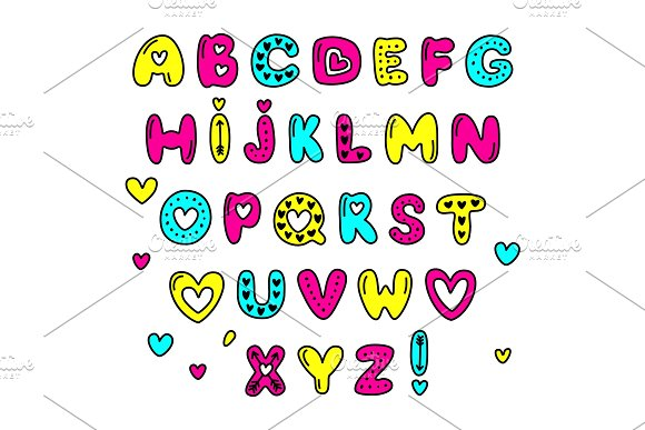 Cute 80s Style Happy Valentines Day Typography