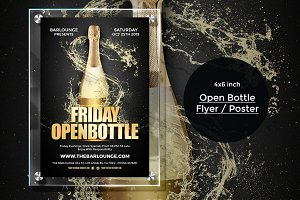 Open Bottle Flyer Poster Template