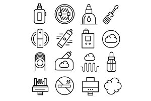 Vector vaping icons set isolated trend
