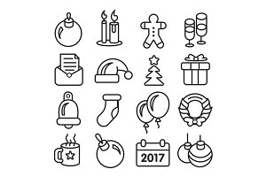 vector icons pack christmas lines icons