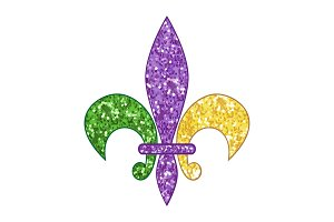 Beautiful fleur de lis with shimmer texture