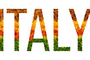 word italy country is written with leaves on a white insulated background, a banner for printing, a creative developing country colored leaves italy