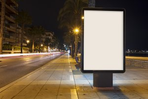 Blank billboard mock up at night