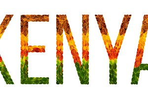 word kenya country is written with leaves on a white insulated background, a banner for printing, a creative developing country colored leaves kenya