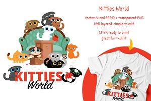 Kitties World Illustration Clipart