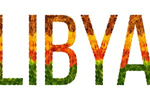 word libya country is written with leaves on a white insulated background, a banner for printing, a creative developing country colored leaves libya
