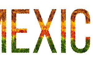 word mexico country is written with leaves on a white insulated background, a banner for printing, a creative developing country colored leaves mexico
