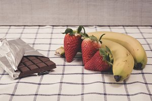 Strawberries, bananas and chocolate