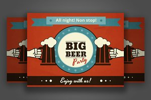 Big Beer party vector poster