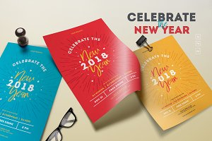 Celebrate New Year 2018 Flyers