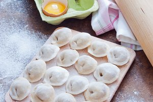 Raw Homemade dumplings