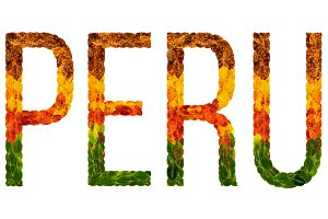 word peru country is written with leaves on a white insulated background, a banner for printing, a creative developing country colored leaves peru