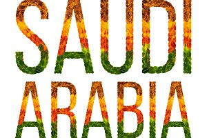 word saudi arabia country is written with leaves on a white insulated background, a banner for printing, a creative developing country colored leaves saudi arabia