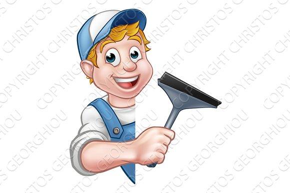 Cartoon Character Window Cleaner
