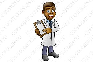 Cartoon Black Scientist or Lab Tech Character