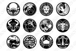 Astrology zodiac horoscope star signs symbols set