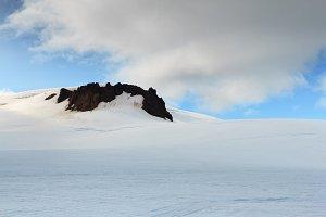 Snow mountain on glacier. Iceland