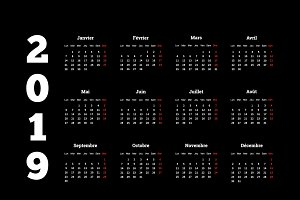 2019 year simple calendar on french