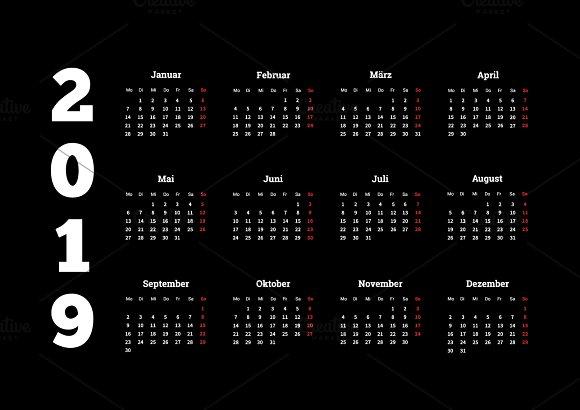 2019 Year Simple Calendar On German