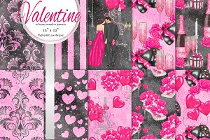 valentine digital paper set