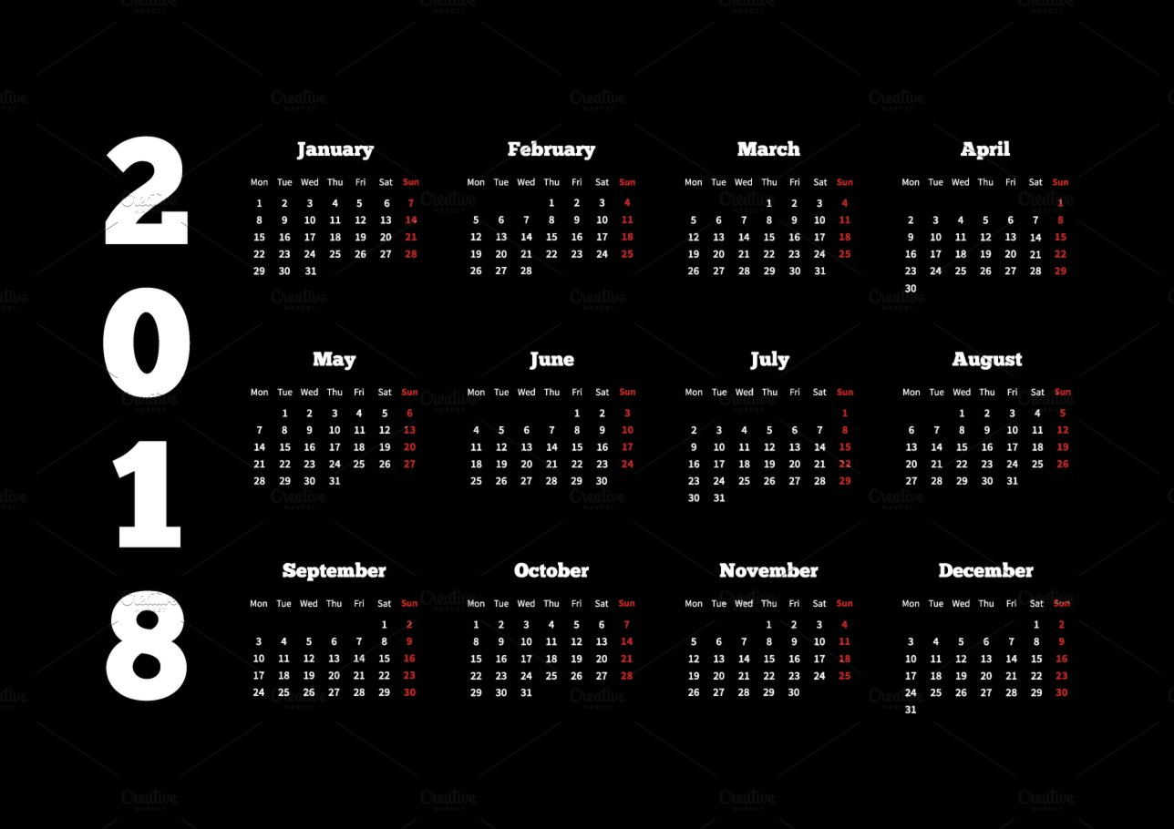 white calendar on 2018 year on black illustrations creative market. Black Bedroom Furniture Sets. Home Design Ideas