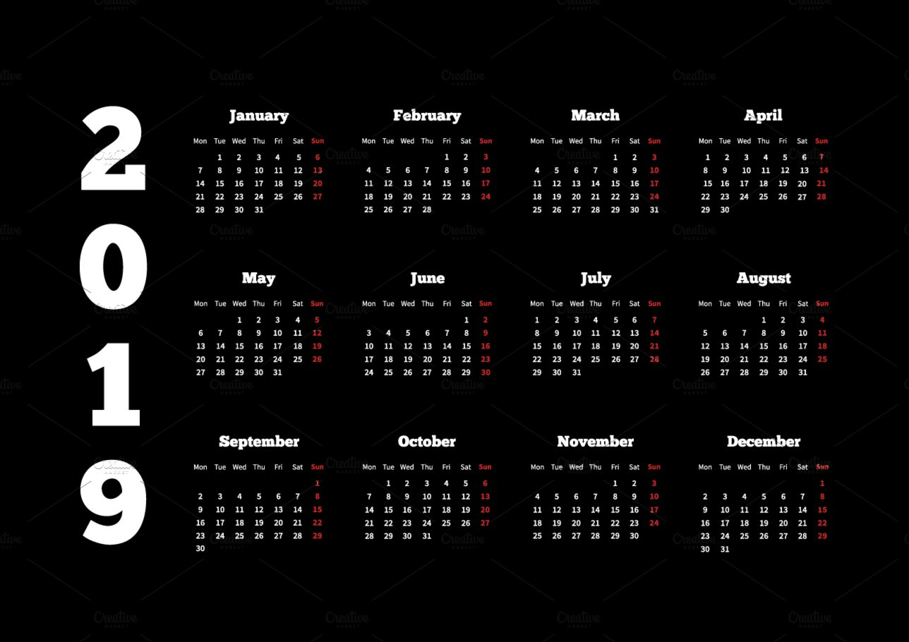 Calendar Black And White : White calendar on year black illustrations