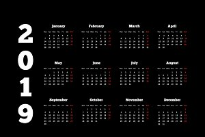 White calendar on 2019 year on black