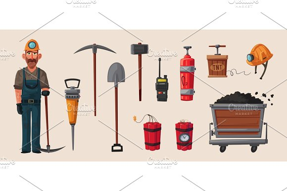 Coal Mining Character And Tools