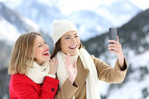 Two tourists having a video call