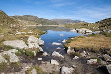 landscape of a lake in high mountain