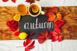 hot tea, orange pumpkin, sweet honey. the inscription is autumn