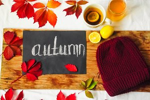 red leaves, inscription autumn, sweet honey, hot tea with lemon