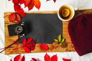 autumn holiday. walk with the camera. knitted hat, hot drink