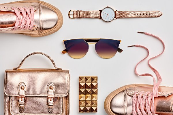 Beauty & Fashion Stock Photos: iBear - Fashion. Hipster Gold Accessories Se