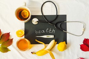 inscription health. treatment. vitamins for the body. hot tea